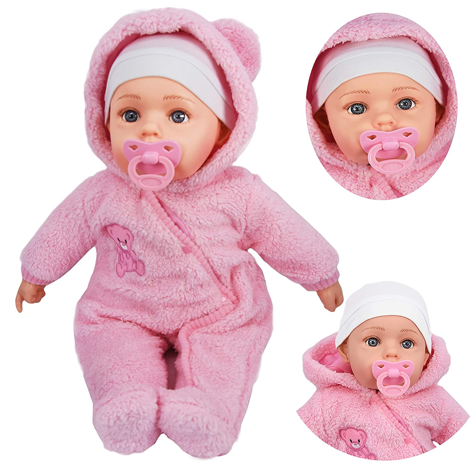 20' Lifelike Large Size Soft Bodied Baby Doll Girls Boys Toy With Dummy & Sounds (Baby Pink Coat) The Magic Toy Shop