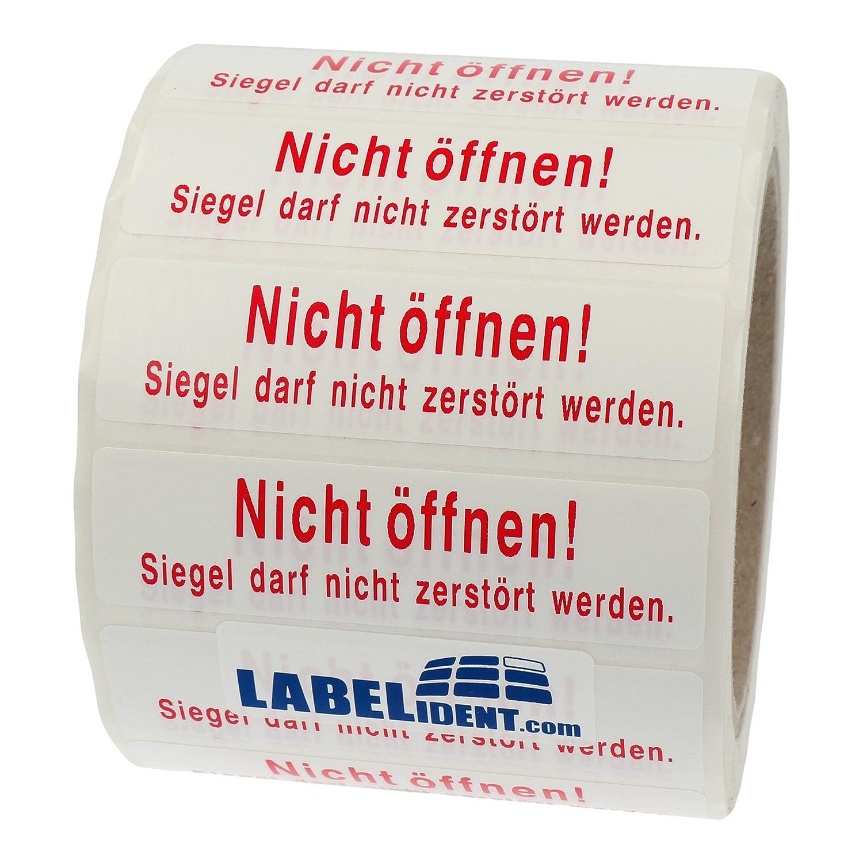 Siegel darf nicht zerst/ört werden wei/ß Dokumentenfolie PE Labelident Siegeletiketten 1000 Etiketten auf Rolle permanent haftend - 80 x 22 mm Nicht /öffnen