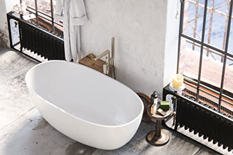 MAYKKE Barnet 61 Inches Modern Oval Light Acrylic Bathtub Easy To Install Freestanding White Soaker Tubs