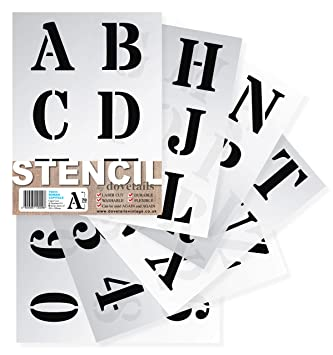 "Letter Stencils 70mm Tall (2 75"") Large Roman Style Capital Letters  Reusable Stencil Complete Alphabet & Numbers on 6 Separate Sheets of 295 x  200mm"