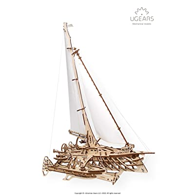 UGears Models 3-D Wooden Puzzle - Mechanical Trimaran Merihobus Sailboat: Toys & Games