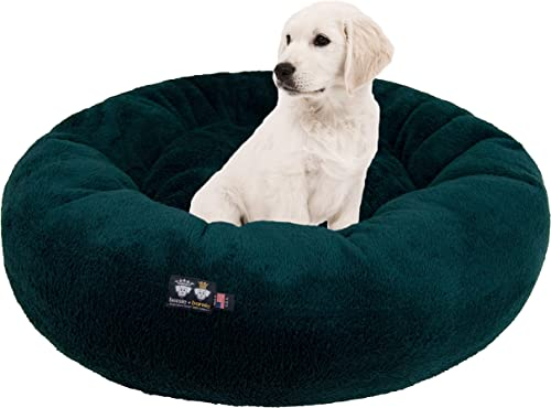 Ultra Plush Deluxe Comfort Pet Dog Cat Hunter Green Snuggle Bed Multiple Sizes – Machine Washable, Made in the USA, Reversible, Durable Soft Fabrics