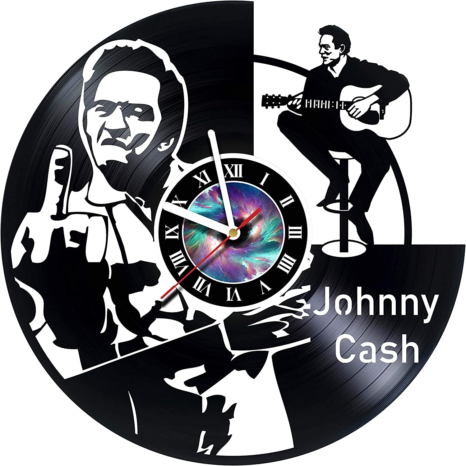 Amazon Com Steparthouse Johnny Cash Handmade Vinyl Wall Clock Get Unique Gifts Presents For Birthday Christmas Ideas For Boys Girls Men Women Adults Him And Her Unique Design Home Kitchen