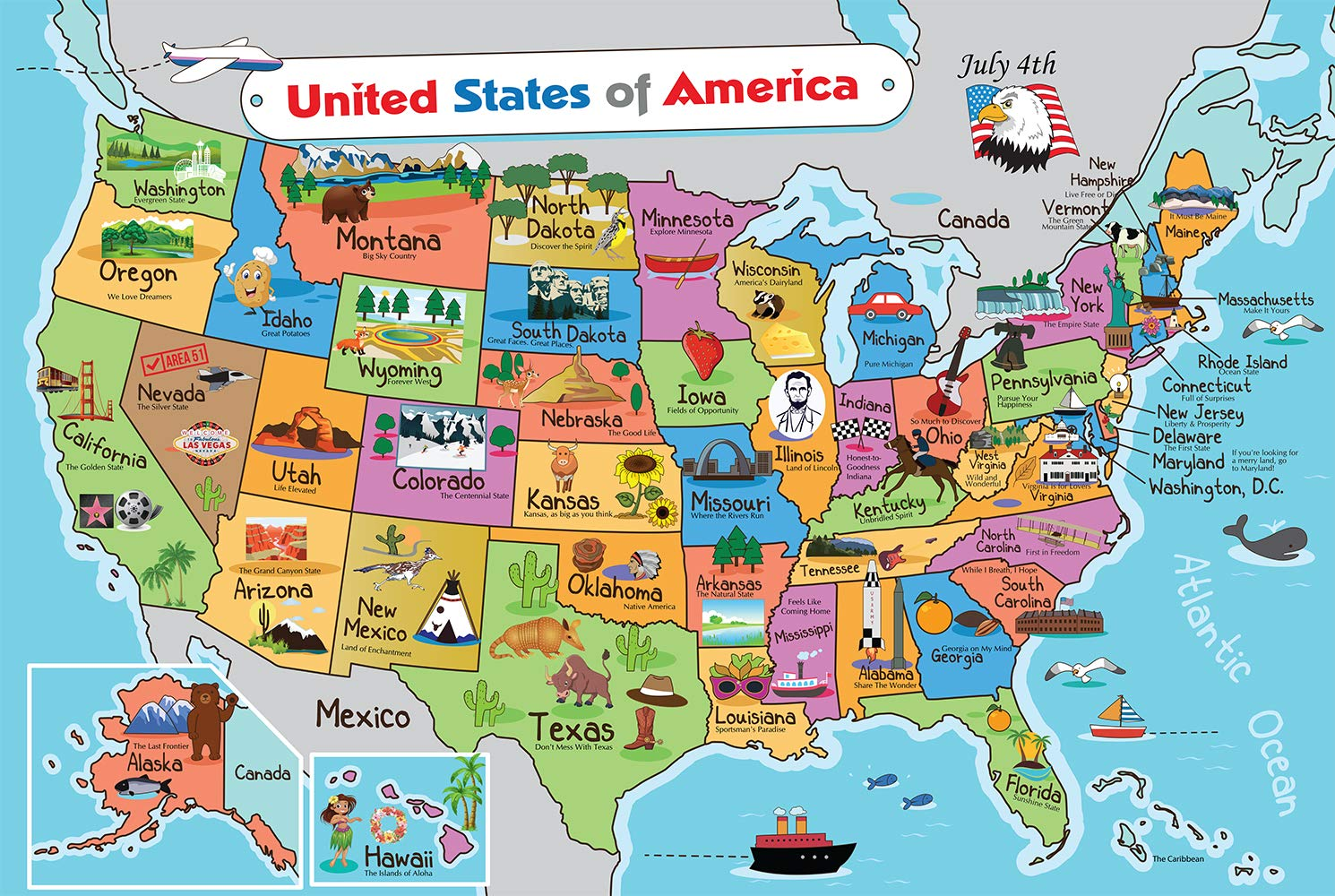 Us 19 Florida Map.Amazon Com Kids United States Map Wall Poster 13 X 19 Us Map