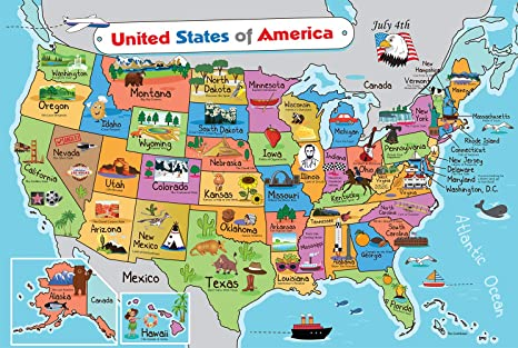 Amazon Com Kids United States Map Wall Poster 13 X 19 Us Map