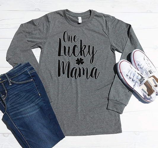 7f0375ec Amazon.com: One Lucky Mama | Long Sleeve Mom Shirt | St. Patricks Day Mom  Tee | Long Sleeve Unisex Tee | Shamrock Long Sleeve Shirt: Handmade