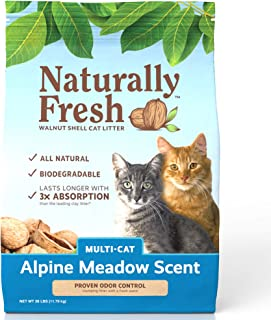 product image for Naturally Fresh Cat Litter - Walnut-Based Quick-Clumping Kitty Litter, Alpine Meadow Scent, Multi-Cat, 26 lb