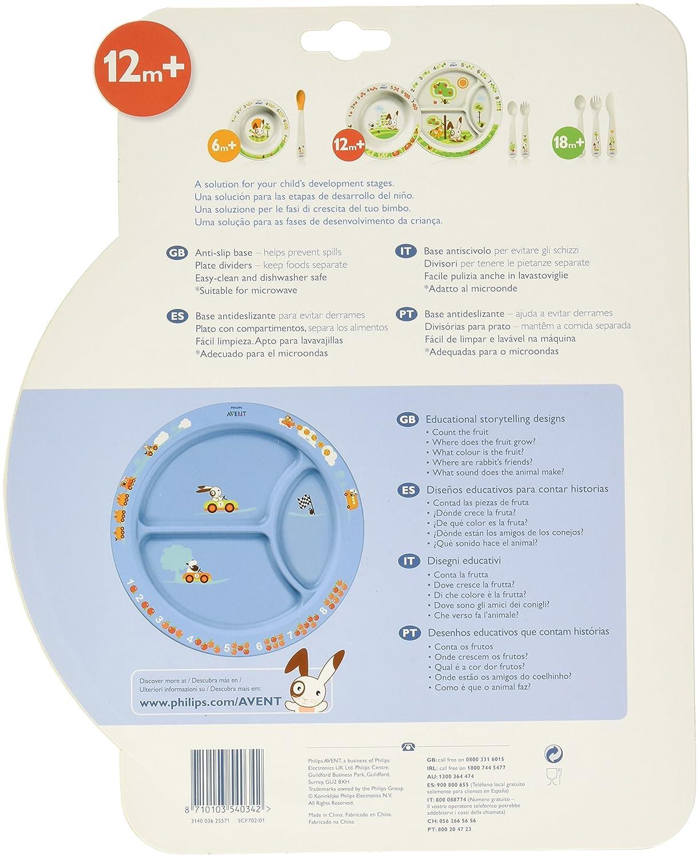 Philips AVENT Plato con compartimentos para la comida (+ 12 meses) SCF702 azul o rosa: Amazon.es: Bebé