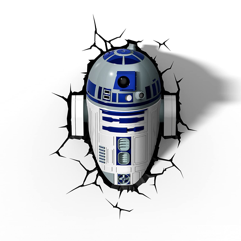 Luz de noche niños LED – Lámapara Star Wars R2-D2 – Estrella de la Muerte – 3D Light FX - Luz de pared con minutero y pegatina de pared – Funciona con Pilas 3DLIGHTFX GG0176