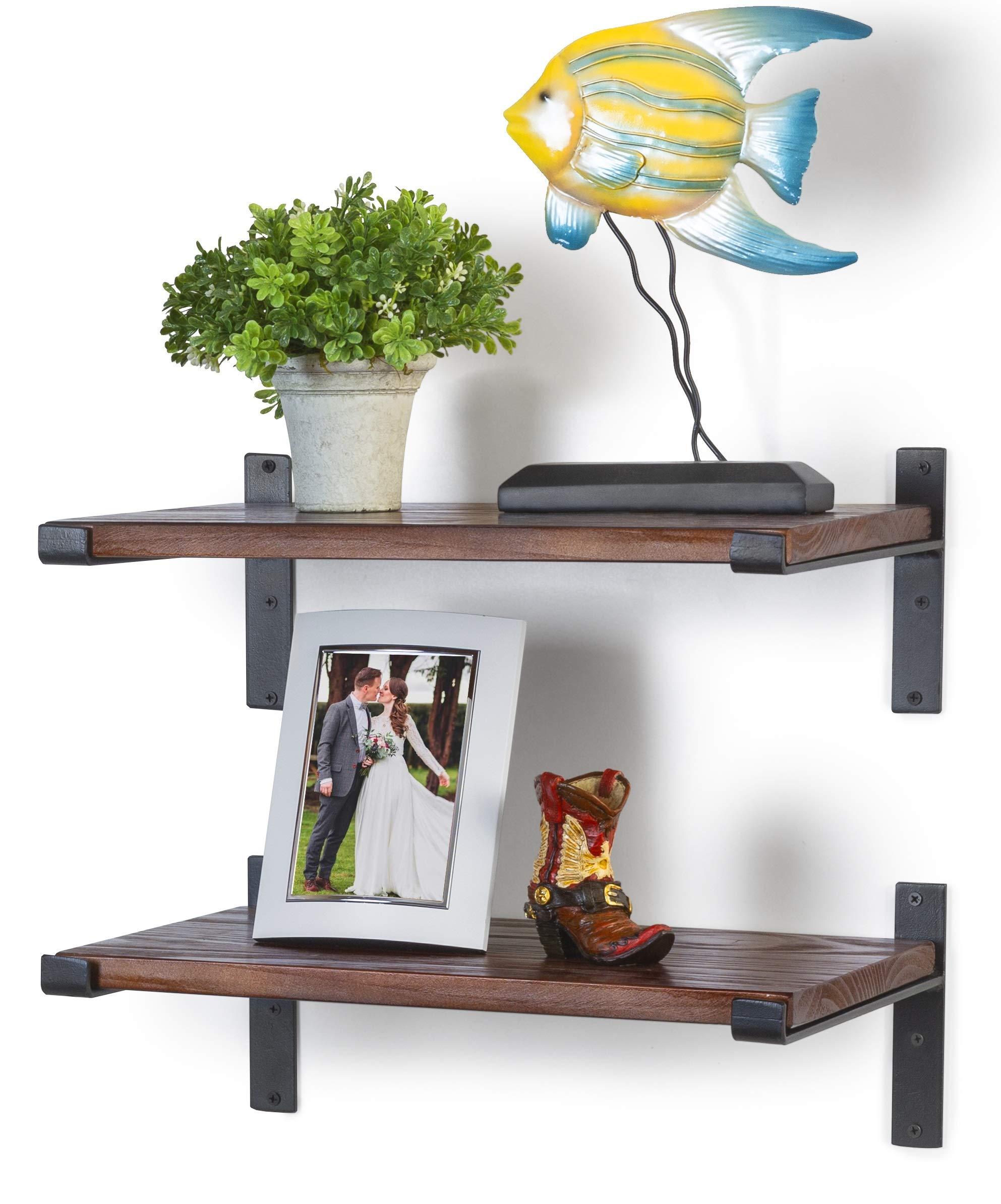 Premium Home Decor Rustic Floating Shelves: Industrial Wall Mounted Shelving, Real Farmhouse Wood Shelf, (Light Mahogany) Shelf for Living Room Display, Kitchen, Bedroom Bookshelf, or Bathroom.