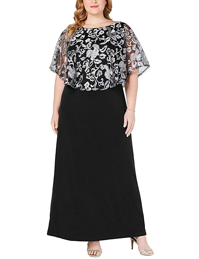 1930s Plus Size Dresses | Art Deco Plus Size Dresses Jhichic Womens Plus Size Embroidered Capelet Maxi Dress Mesh Lace Evening Gown Elegant $38.89 AT vintagedancer.com