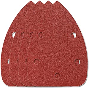 HIFROM 65pcs Mouse Sander Pads Sanding Sheets Aluminum Oxide Hook & Loop 140mm 5 Hole 120 Grits Sanding Paper