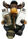 Atlantic Collectibles Comical Camper Moose Decorative Glass Salt Pepper Shakers Holder Resin Figurine
