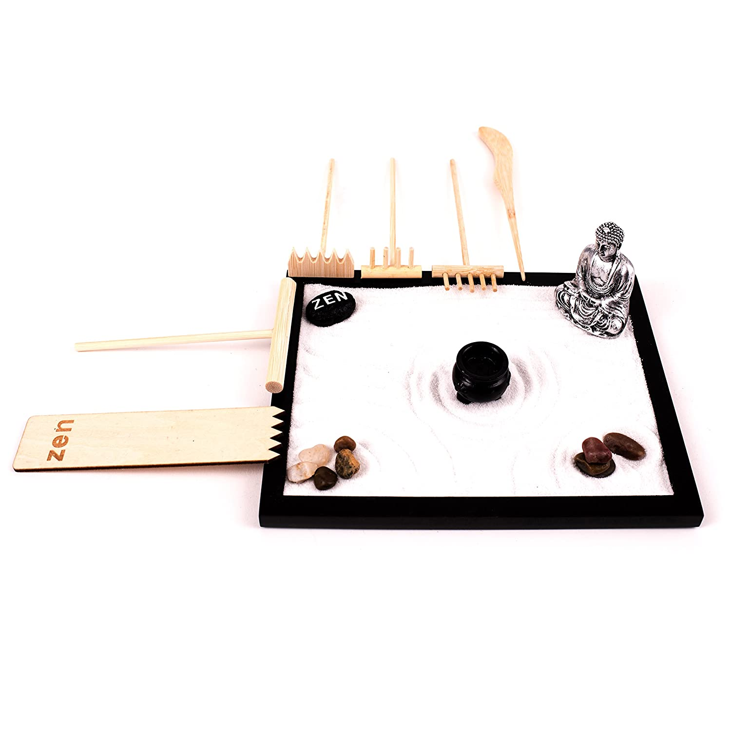 Deluxe Wooden Zen Sand Garden with 6 Types of Rakes, 2 Meditation Figurines, Sand and Rocks (Model# RG-003)