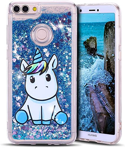 Anfire Coque Huawei P Smart Etui Housse Licorne Bleu Case 3D Liquide Crystal Transparent Silicone TPU Cases Covers Bling Glitter Flowing Sand Étui de ...