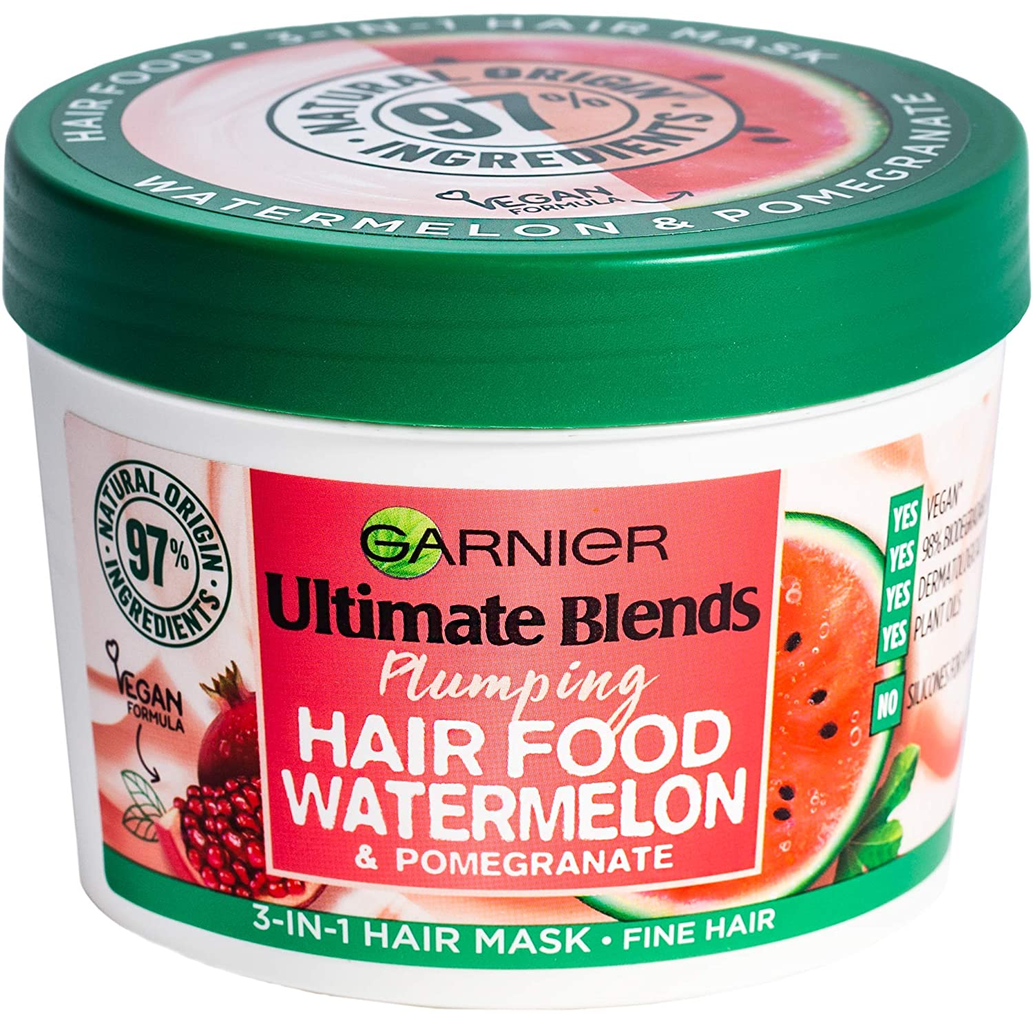 Garnier Ultimate Blends Plumping Hair Food Watermelon 3-In-1 Fine Hair Mask Treatment 390Ml