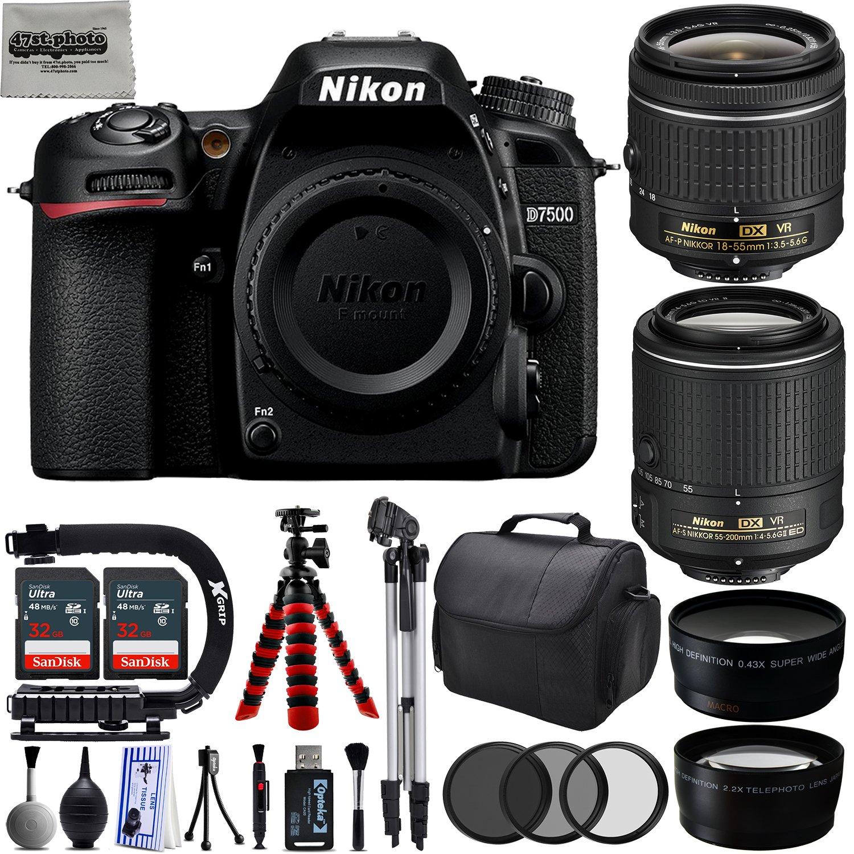 Nikon D7500 20.9MP 4K DSLR Camera w/4 Lens - 18 to 200mm - 64GB - 30PC Kit - Nikon 18-55VR + Nikon 55-200VR + Opteka 2.2X Telephoto Lens + Opteka 0.43x Wide/Macro Lens 47th Street Photo NKD7500CK4
