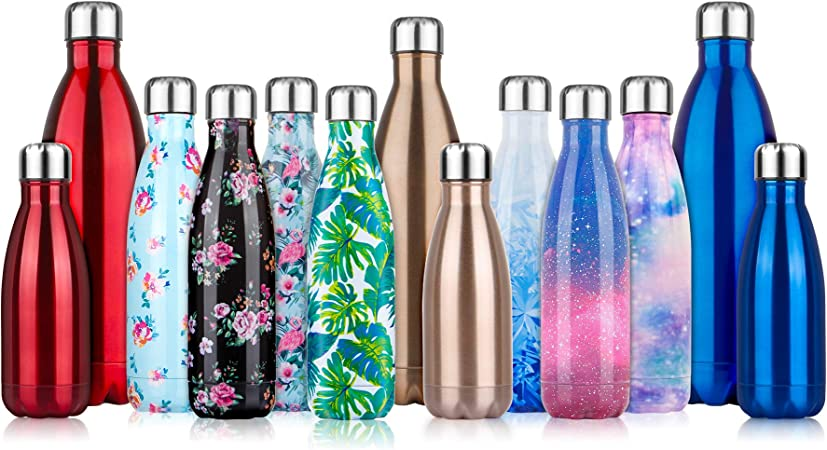 Borraccia Bottiglia Termica FIORI Floreale 500 ml Acciaio BPA FREE Doppia Parete