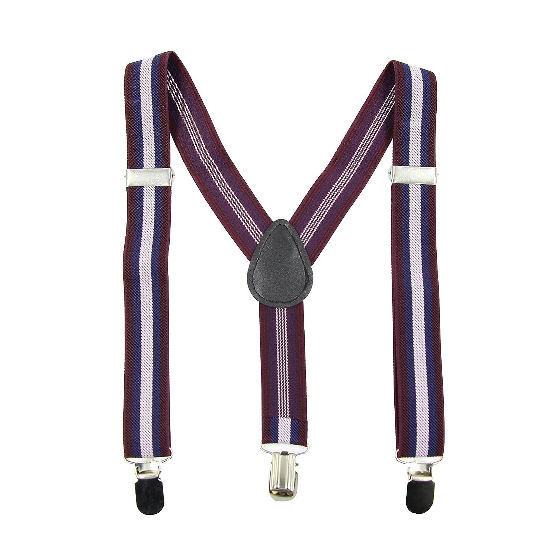 Hanerdun Unisex Kids Adjustable Suspenders with Strong Clips Elastic Suspenders For Boys /& Girls