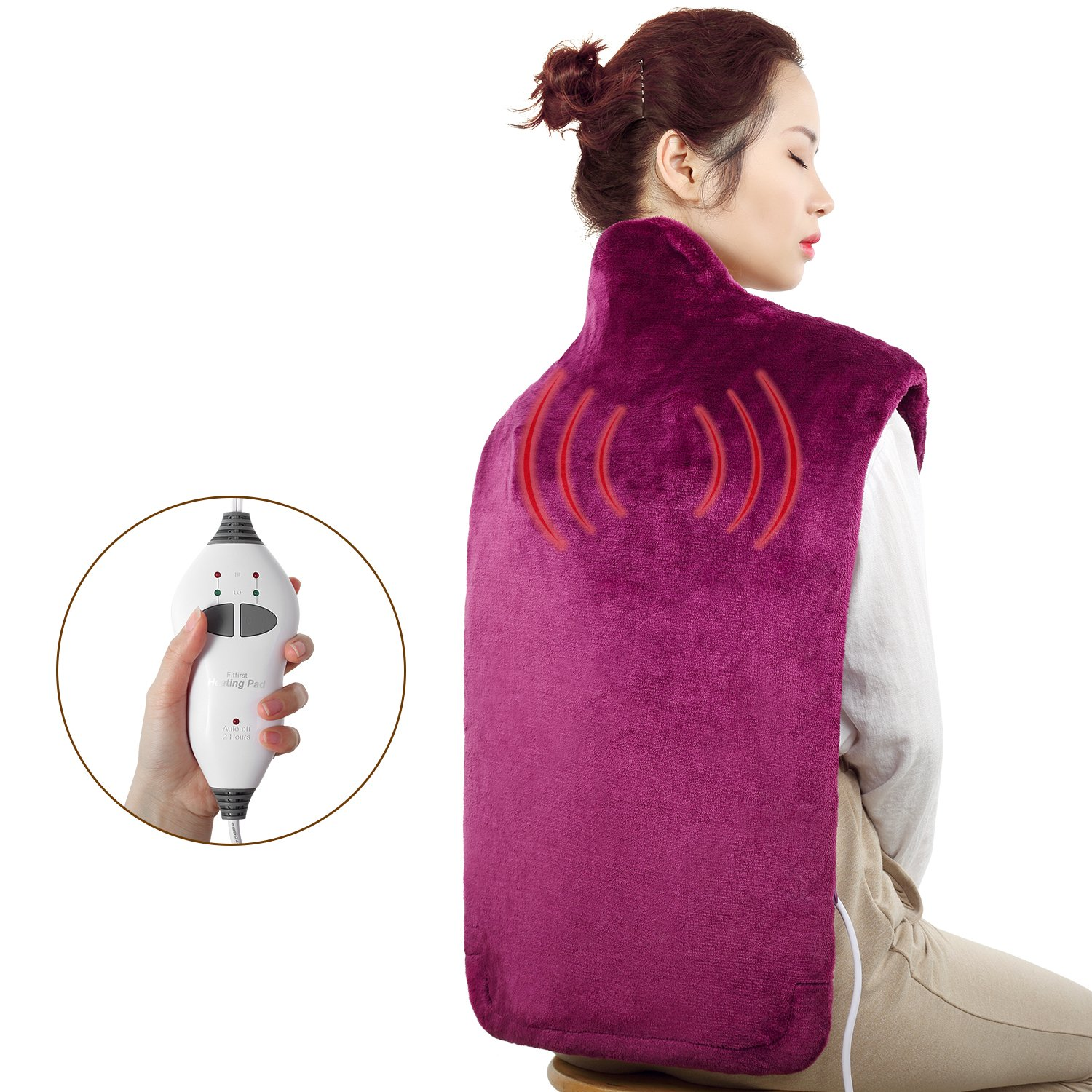 Fitfirst Heating Pad 32.7'' x 15'' Large Size Flannel with Massage Function and Fast-Heating Technology, 2-Hour Auto-Off, Machine Washable Cover(Violet)