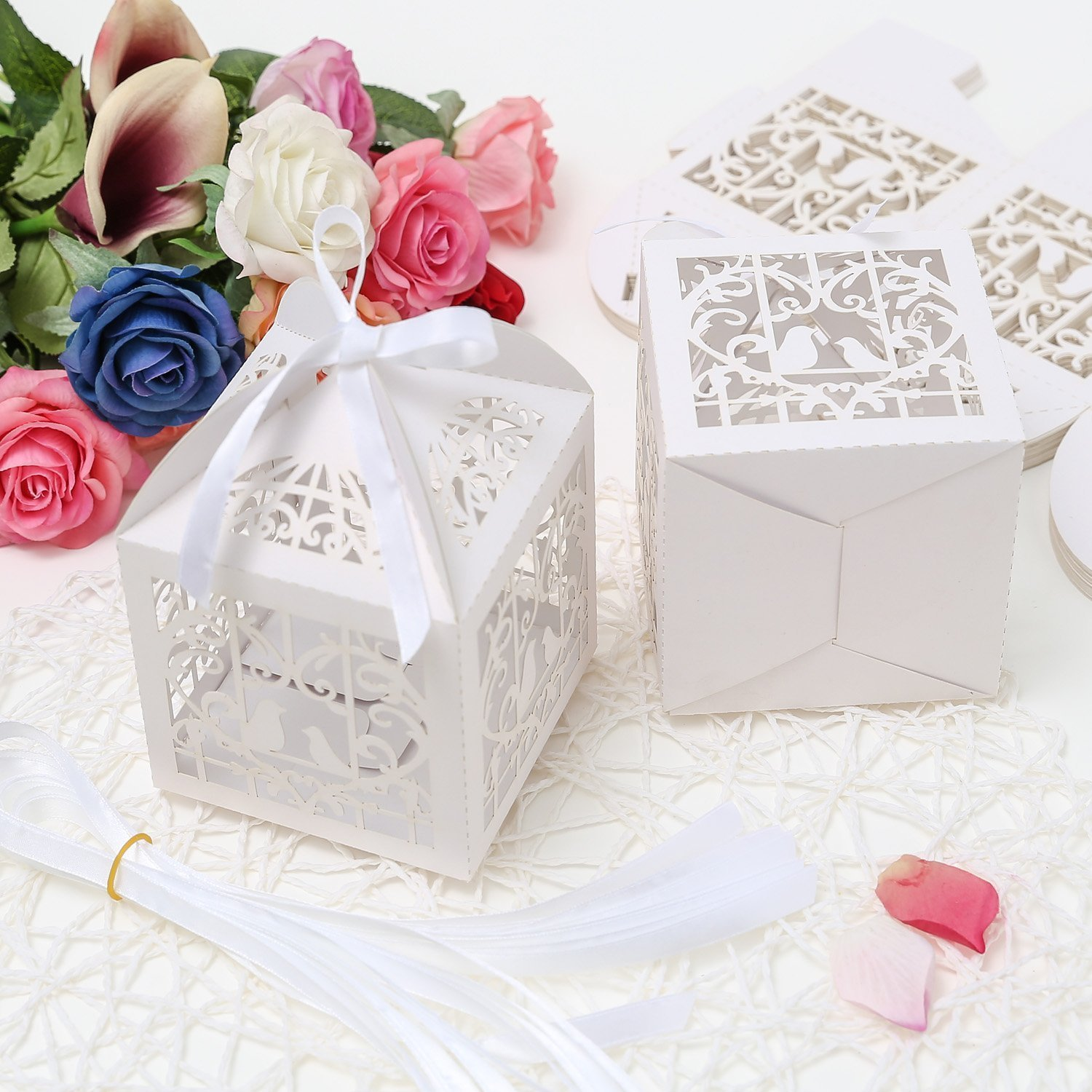 Amazon.com: PONATIA 25Pcs/Lot 4 x 4 inches Laser Cut Pearl Paper ...