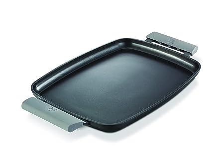 Efficient Asas de Silicona BRA Plancha Asar Negro Color Naranja 35 cm 2 Unidades para Efficient con di/ámetro de 35-45 cm Medida Plancha asador Liso
