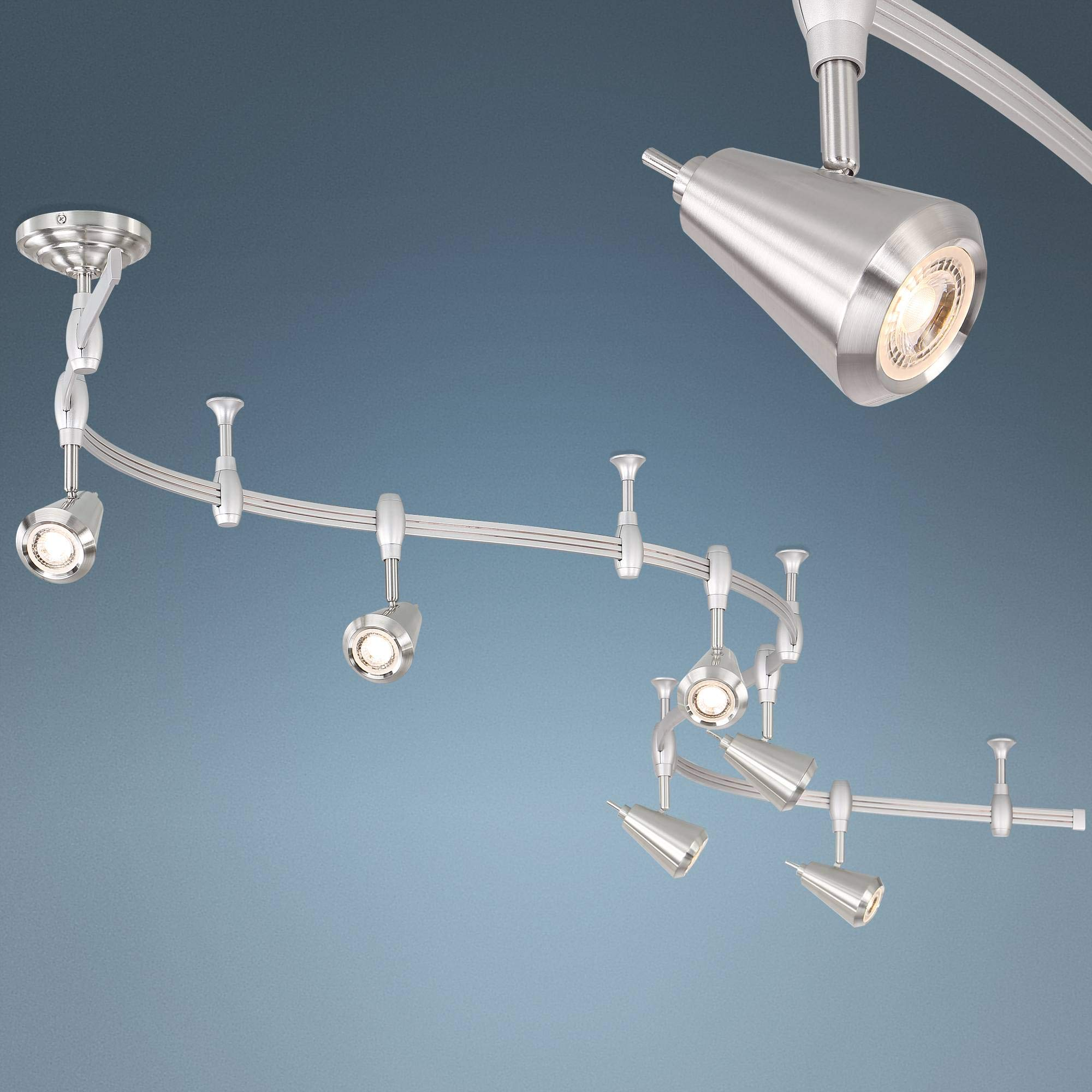 Ali 6-Light Brushed Nickel Monorail LED Track Light - Pro Track