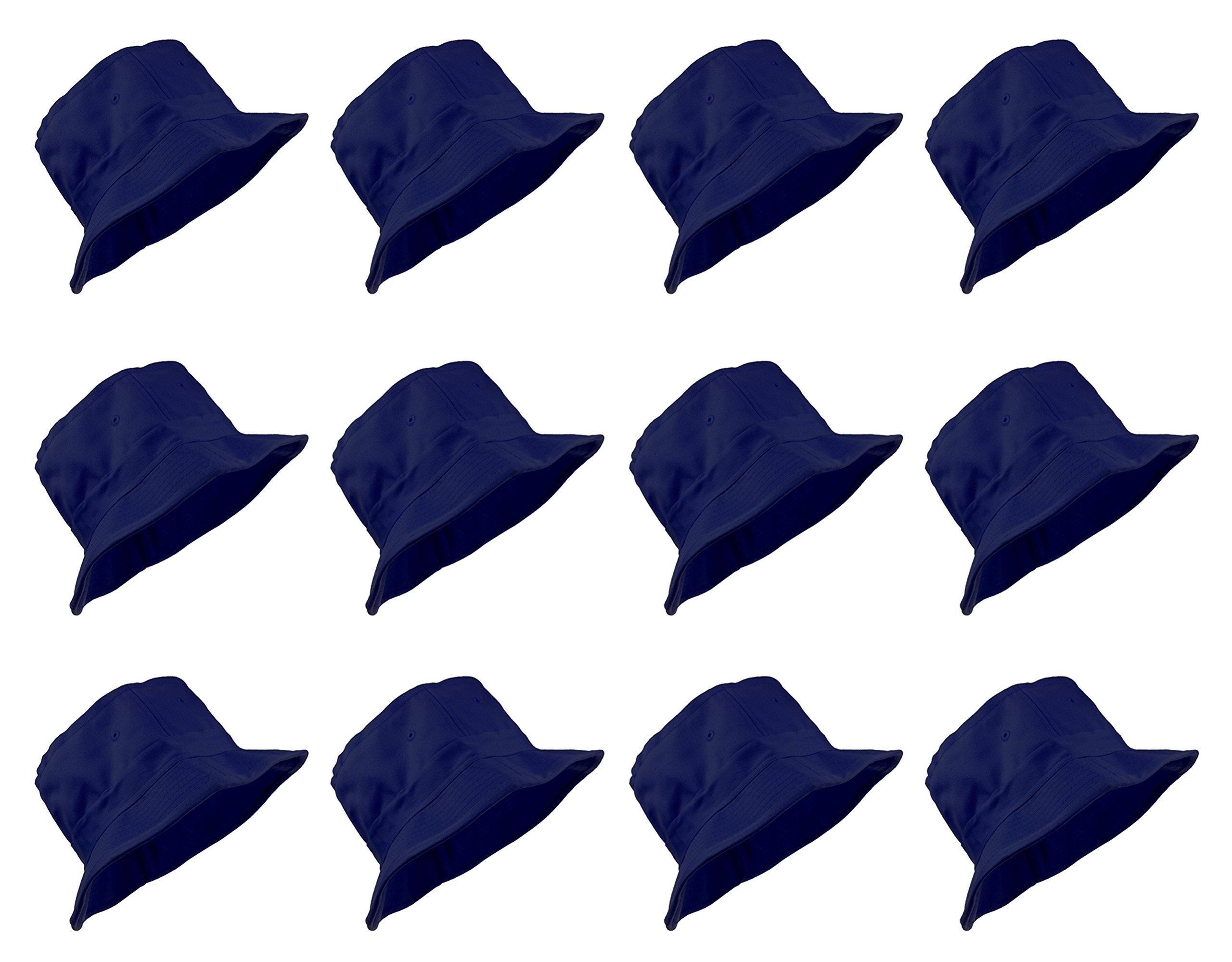 Enimay 12 Pack of Classic Style Bucket Hats Soild Colors Many Styles Navy