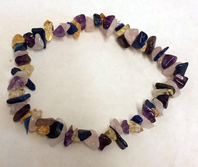 Hand-crafted lapislázuli, citrino, amatista y cristal de cuarzo rosa pulsera de curación