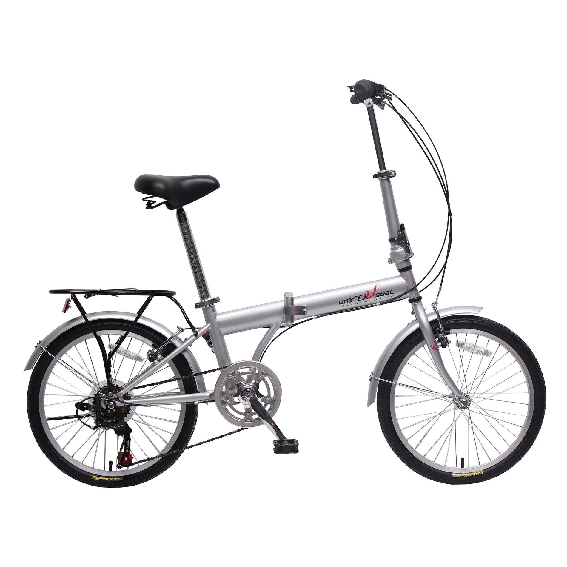 unYOUsual U transformer 20'' Folding City Bike Bicycle 6 Speed Shimano Gear Steel Frame Mudguard Rear Carrier Silver