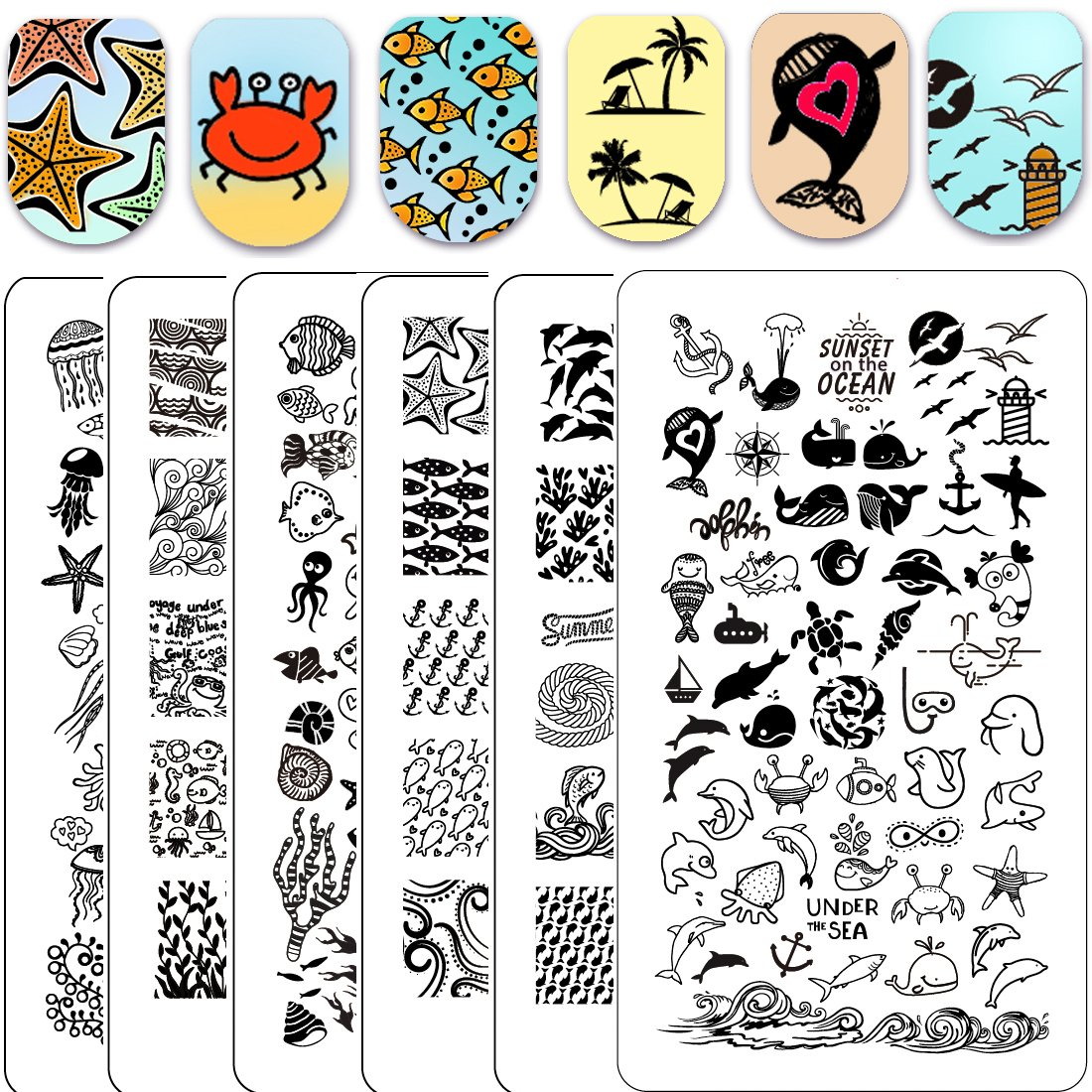 Ejiubas Stamping Plates Set 3Pcs Double-sided Nail Art Stamp Stamping Template Image Plates Wonderful Sea World Nail Art Tools