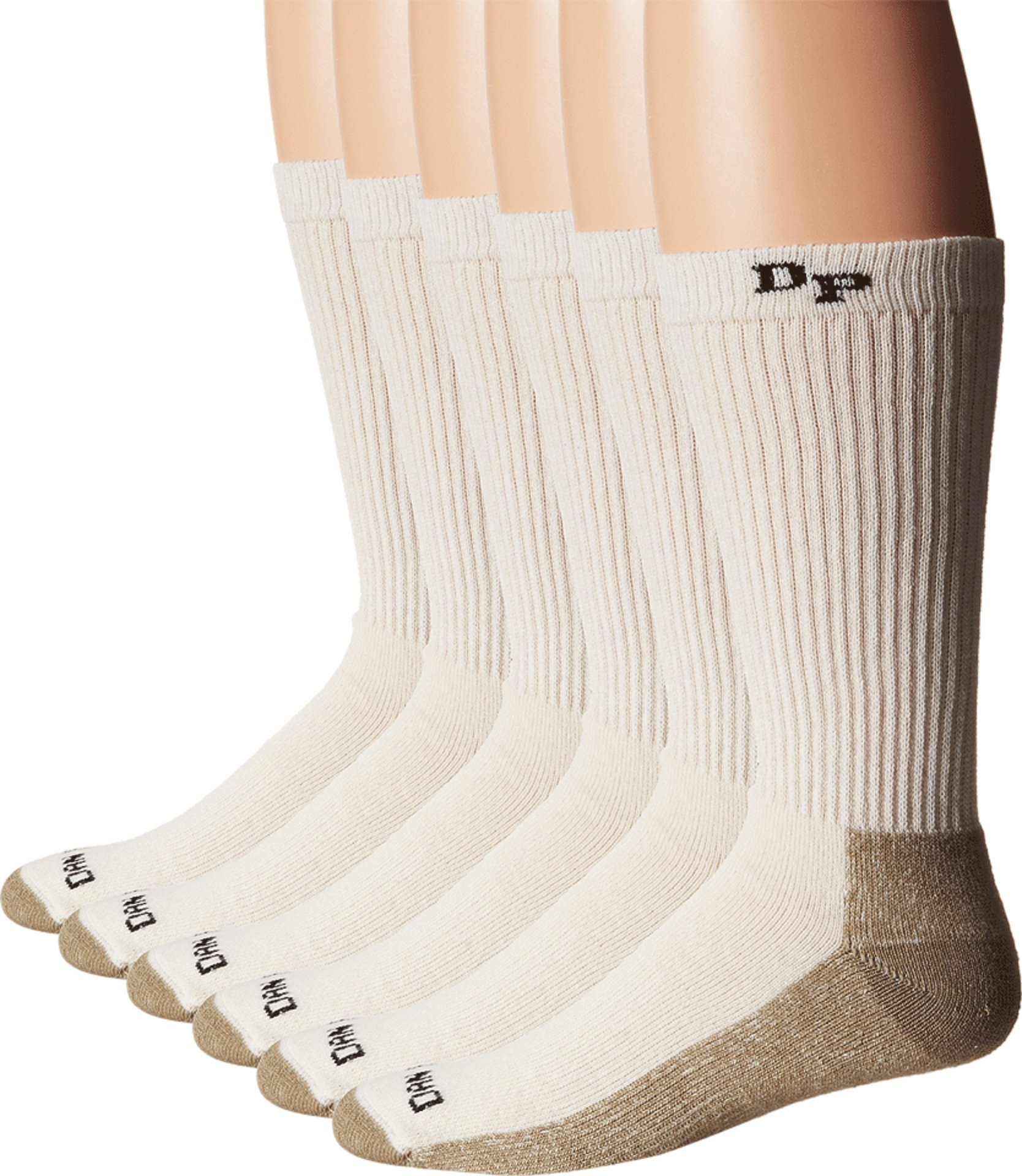 Dan Post  Men's Dan Post Work & Outdoor Socks Mid Calf Mediumweight Steel Toe 6 pack Natural Medium