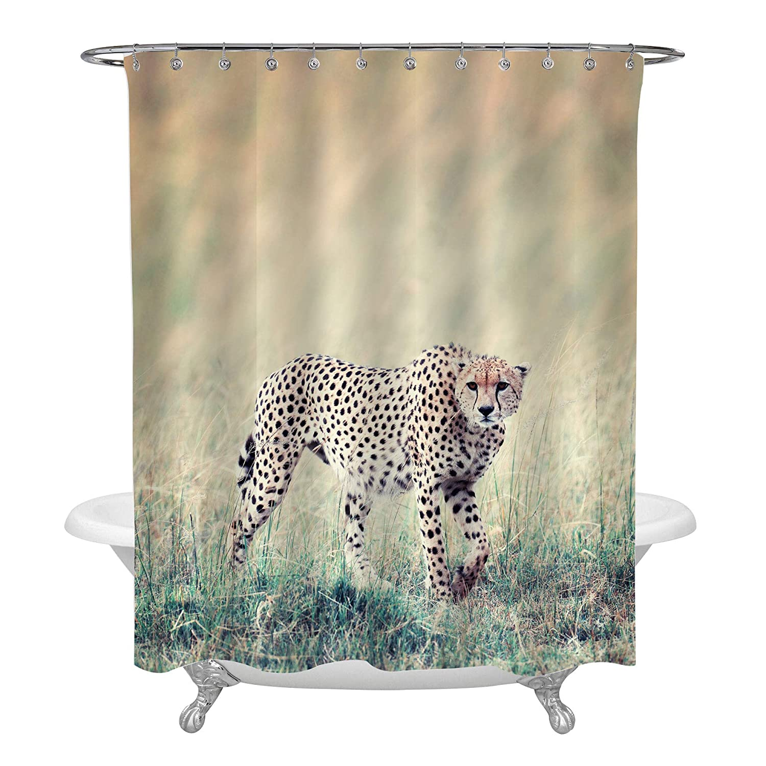 Wild African Cheetah Shower Curtain Liner Beautiful Mammal Animal Hunting In The Grassland Gifts For Men And Kids Boy Water Repellent Anti Bacterial