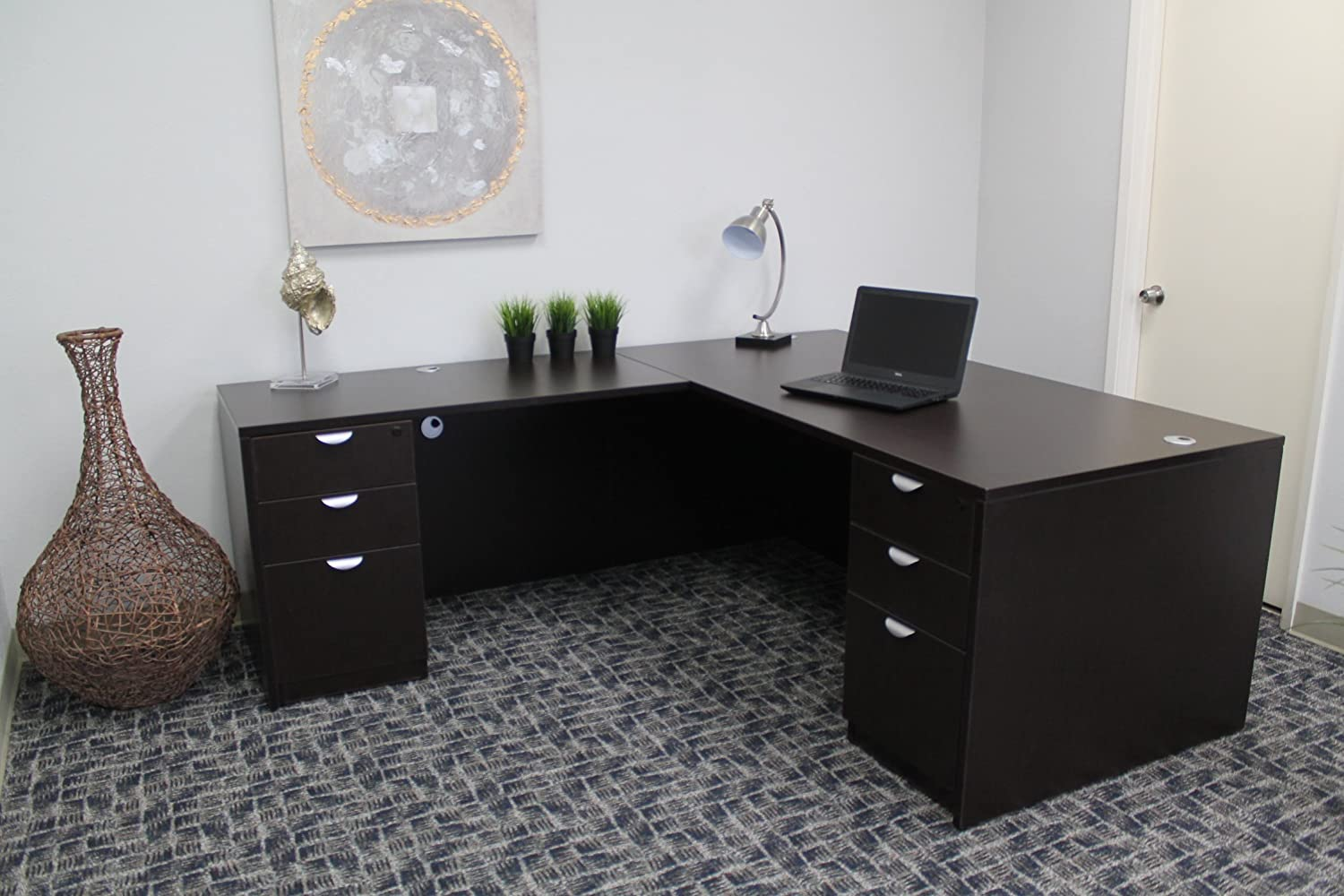 Boss Office Products Holland 71 Executive L-Shape Corner Desk with Dual File Storage Pedestals, Mocha