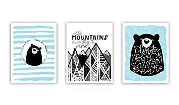 Nursery Wall Art Woodland Animals set of 3 Prints for Baby Boy Girl