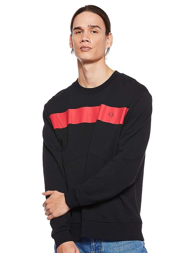 Fred Perry M5539-printed Chest Panel Sweatshirt-102-s Felpa Nero Black 102 Small Uomo