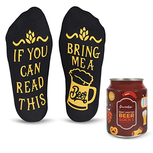 The Authentic 'If You Can Read This' Funny Socks + Unique Gift Packaging  (Wine, Beer, Coffee, Chocolate) by Cavertin