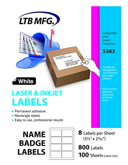 amazon com ltb mfg laser inkjet printer shipping labels white 8