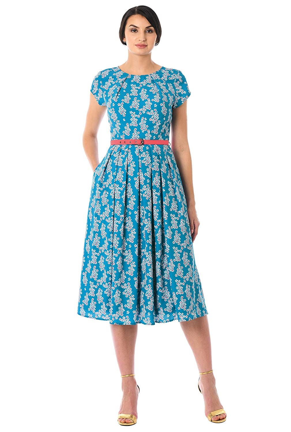 Vintage Tea Dresses, Floral Tea Dresses, Tea Length Dresses eShakti FX Pleat Neck Belted Floral Print Crepe Dress $64.95 AT vintagedancer.com