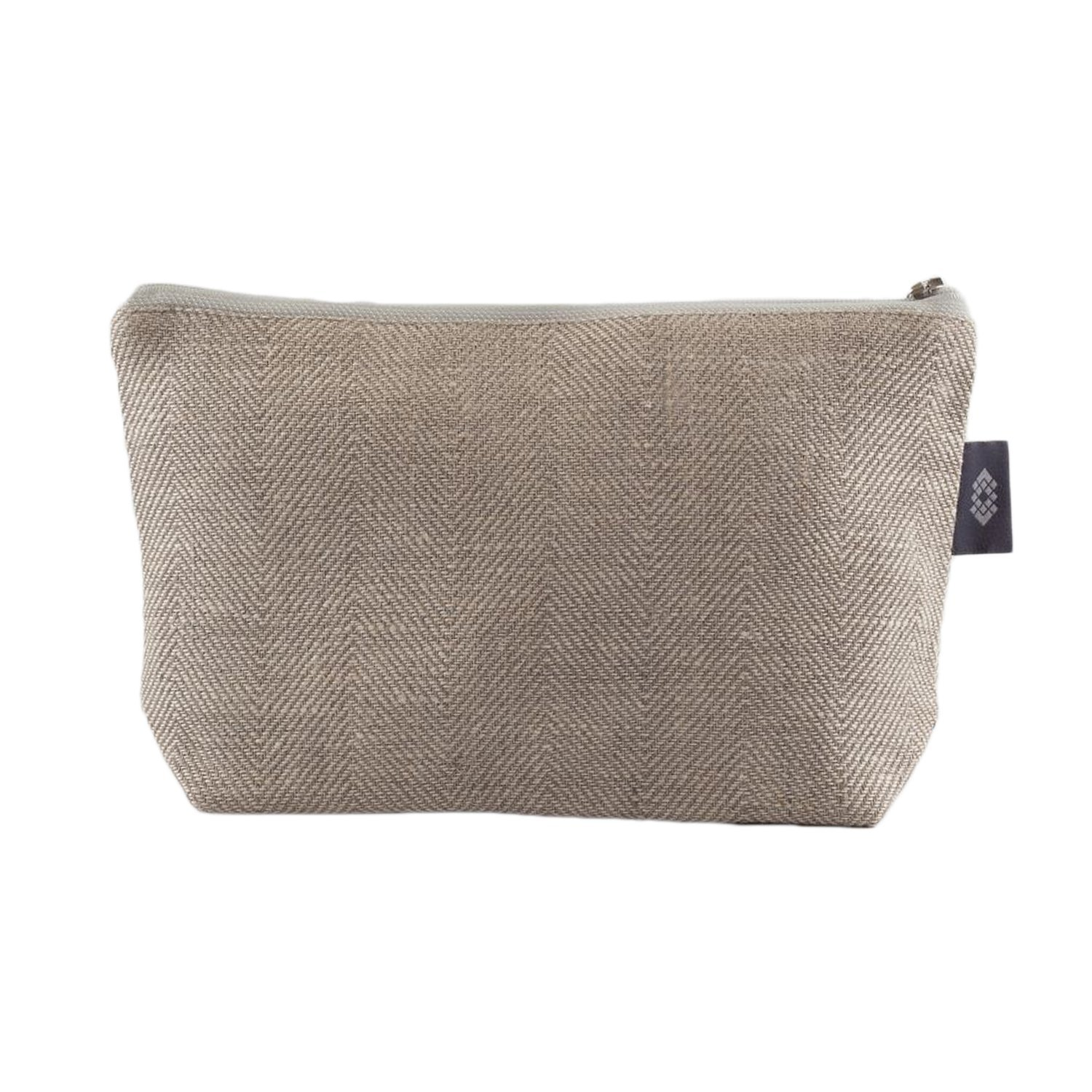 Thingstore White Linen Cosmetic Bag - 100% Flax Linen Makeup Pouch - Canvas Burlap Toiletry Bag Handcrafted
