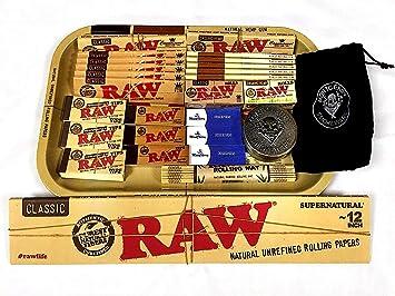 Bandeja con artículos de fumar de RAW (diseño B), estilo años 70, bandeja de metal, buen regalo para ti o tus seres queridos: Amazon.es: Hogar
