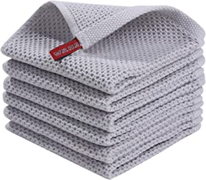 Homaxy 100% Cotton Waffle Weave Kitchen Dish Cloths, Ultra Soft Absorbent Quick Drying Dish Towels, 12x12 Inches, 6-Pack, Light Gray
