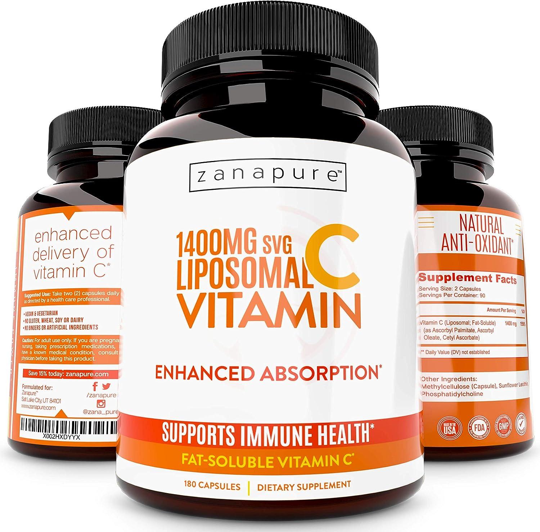 ZANAPURE Liposomal Vitamin C Capsules Extra Strength - 1400mg - USA Made - Immune Defense Support & Collagen Booster - Ultimate Antioxidant Supplement - Lypo Spheric, 180 Vegan Capsules, Pure, Non-GMO