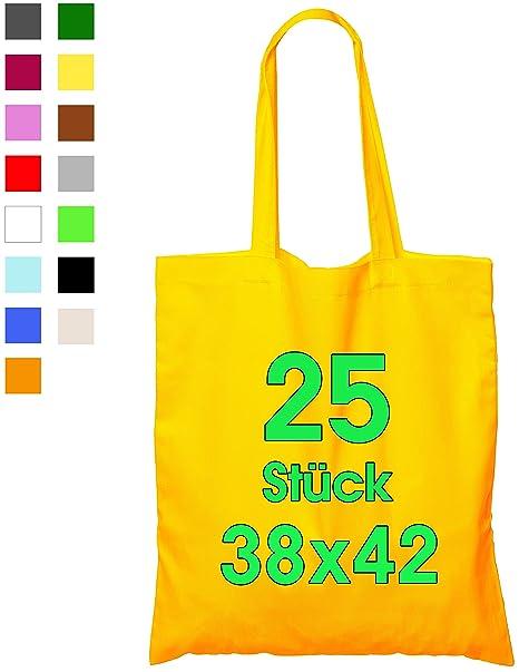 ELES VIDA Bolsa de algodón, 38 x 42 cm, sin Estampar, Asas largas, Bolsa de Tela, Bolsa de algodón, Bolsa de Yute con Certificado Öko-Tex ®, 25 ...