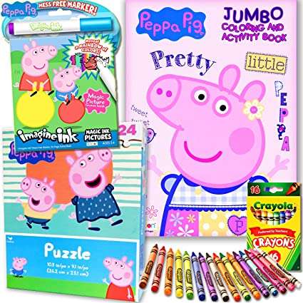 Amazon.com: Peppa Pig Coloring & Activity Book Super Set With Puzzle And  Imagine Ink: Toys & Games