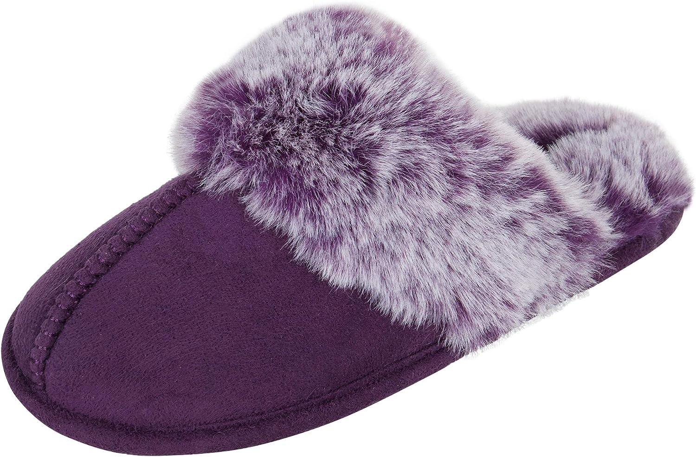 Jessica Simpson Girls Comfy Slippers - Cute Faux Fur Slip-on Shoes Memory Foam House Slipper
