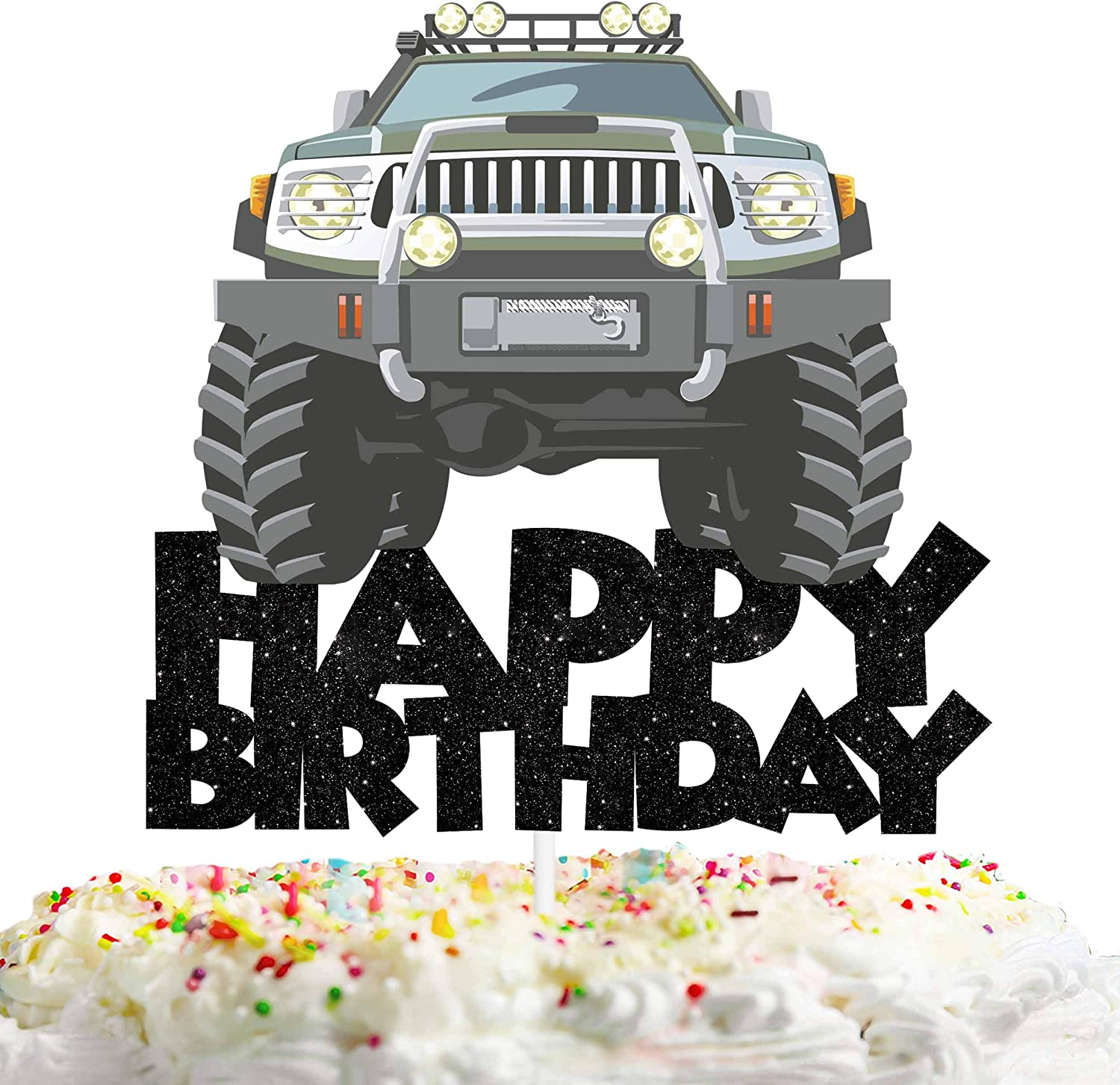 Road Vehicle Happy Birthday Cake Topper Decorations with Car for Truck Theme Picks for Kids Birthday Party Decor Supplies