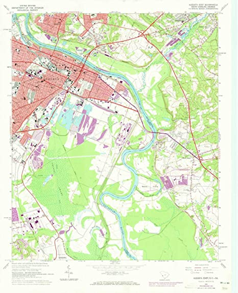 Map Of Georgia Augusta.Amazon Com Yellowmaps Augusta East Ga Topo Map 1 24000 Scale 7 5