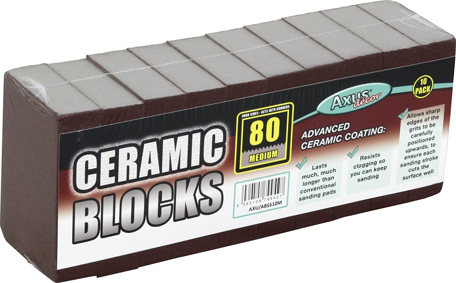 Axus Decor AXU/ABCB10M 80-Grit Ceramic Block (Pack of 10) Axus Décor
