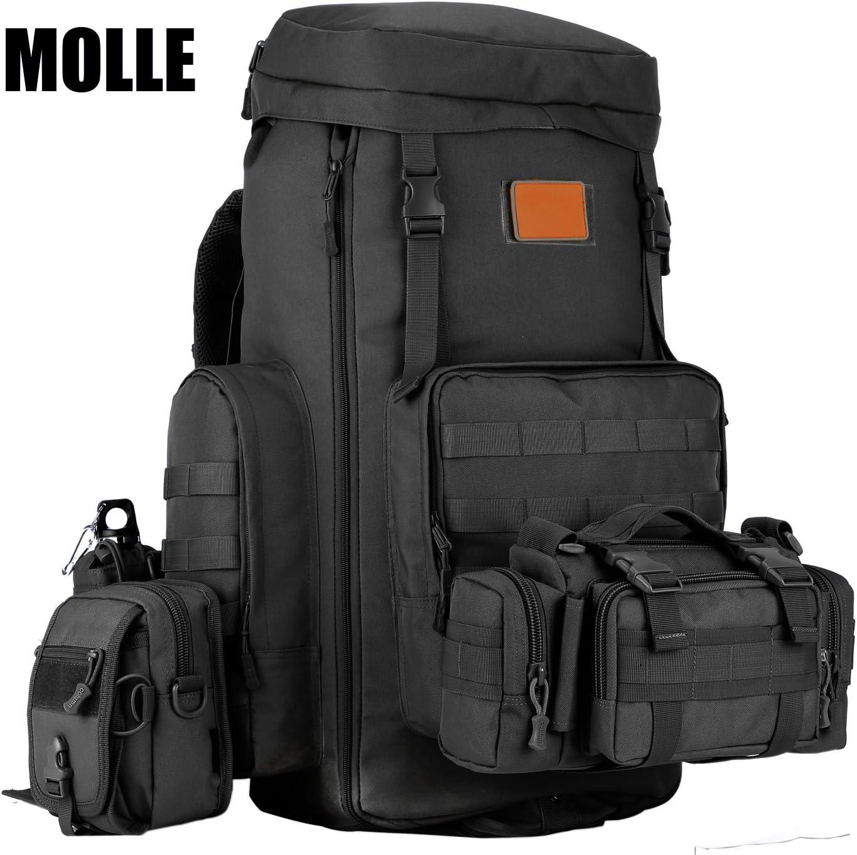 Housse de Pluie Imperm/éable Inclus DCCN 70-85L Sac de Sport en Plein Air Militaire Tactique Capacit/é Ajustable Grand Sac /à Dos Molle Randonn/ée Camping Trekking